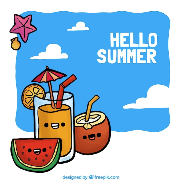 Hand-drawn background with summer drinks