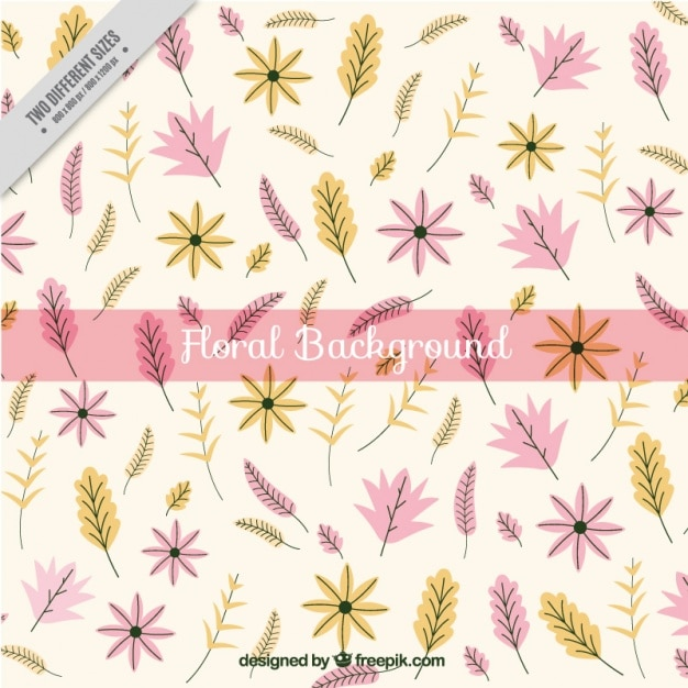 Hand-drawn background with yellow and pink\ flowers