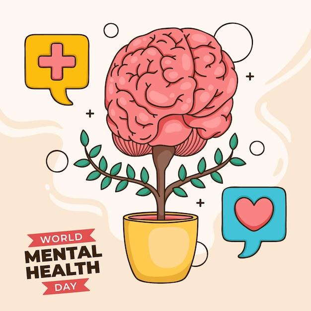 Ручной обращается фон всемирный день психического здоровья с мозгом в горшке Premium векторы