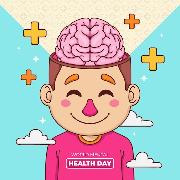 Hand drawn background world mental health day with brain and plus signs Free Vector