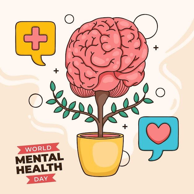 Hand drawn background world mental health day with brain in pot Free Vector