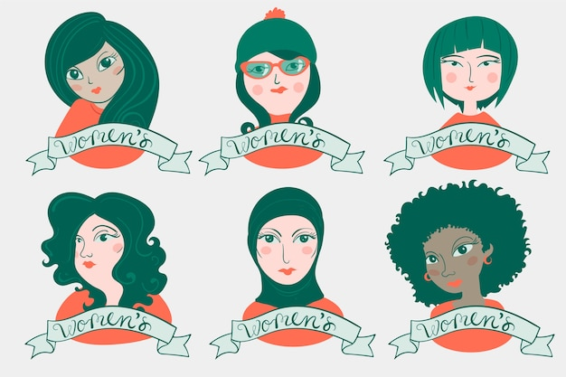 Hand-drawn badge collection with womens day Free Vector