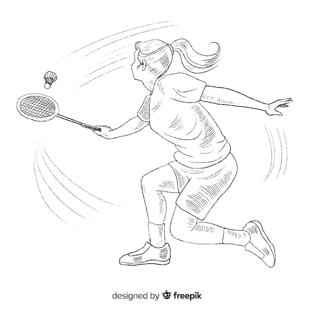 Hand Drawn Badminton Player With Racket Vector