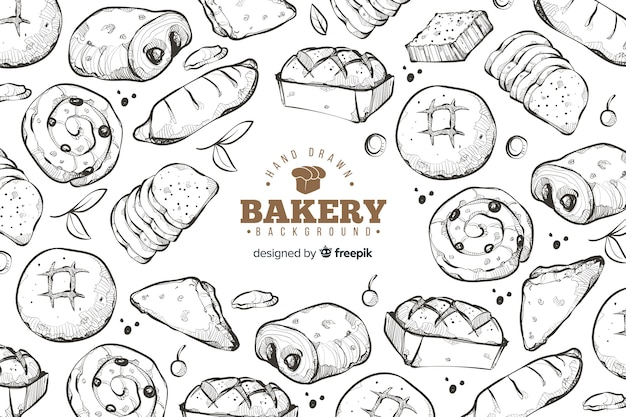 Hand drawn bakery background Free Vector
