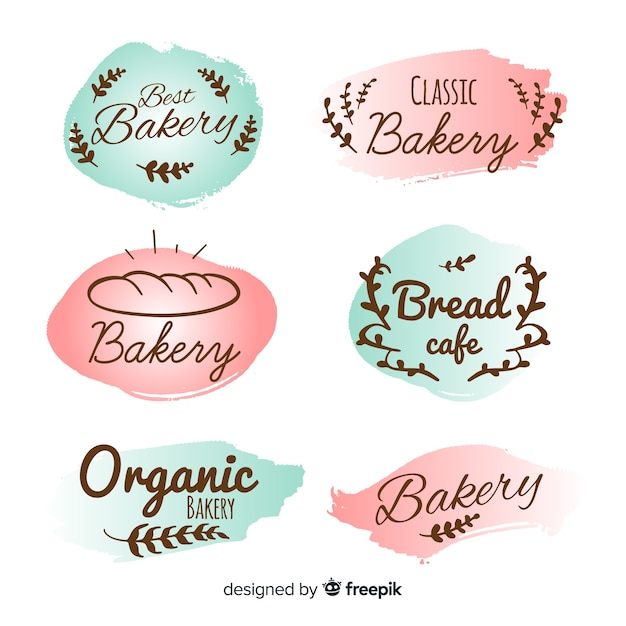Hand drawn bakery badge collection Free Vector
