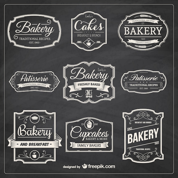 Hand drawn bakery badges Free Vector