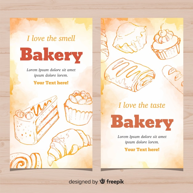 Hand drawn bakery banners Free Vector