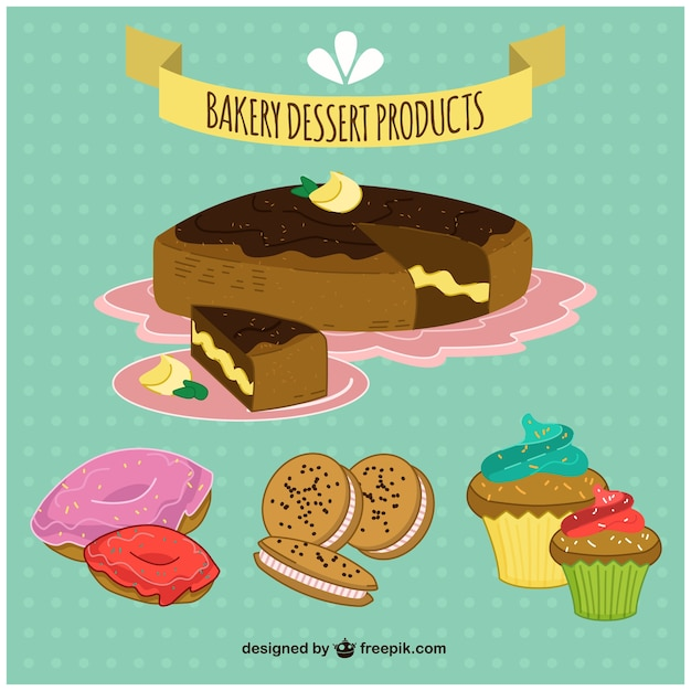 Hand drawn bakery desserts pack