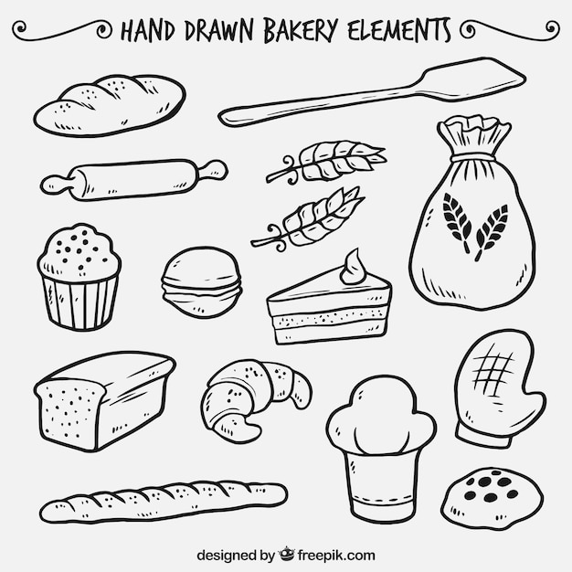 Hand drawn bakery elements Free Vector