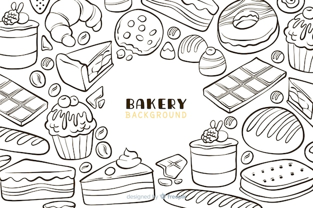 Hand drawn bakery food background Free Vector