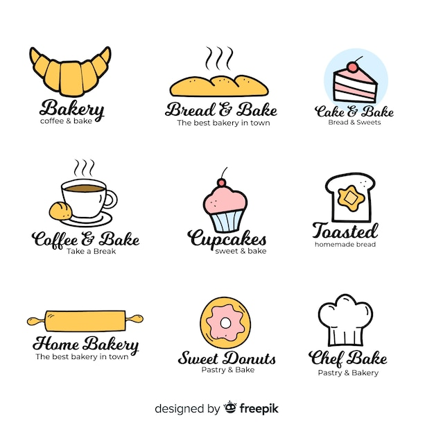 Hand drawn bakery logo template Free Vector