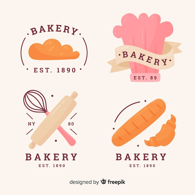 Hand drawn bakery logos collection Free Vector