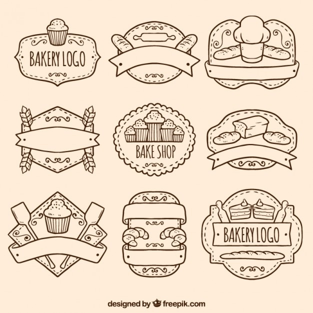 Hand drawn bakery logos pack Free Vector