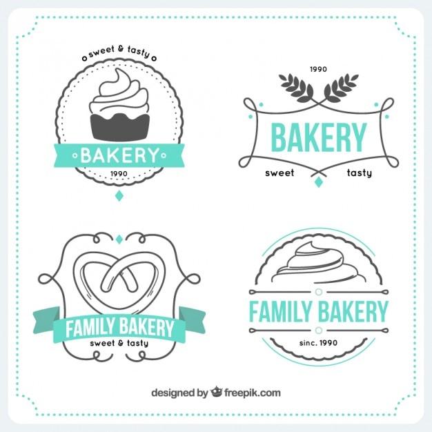 Hand drawn bakery logos templates Premium Vector