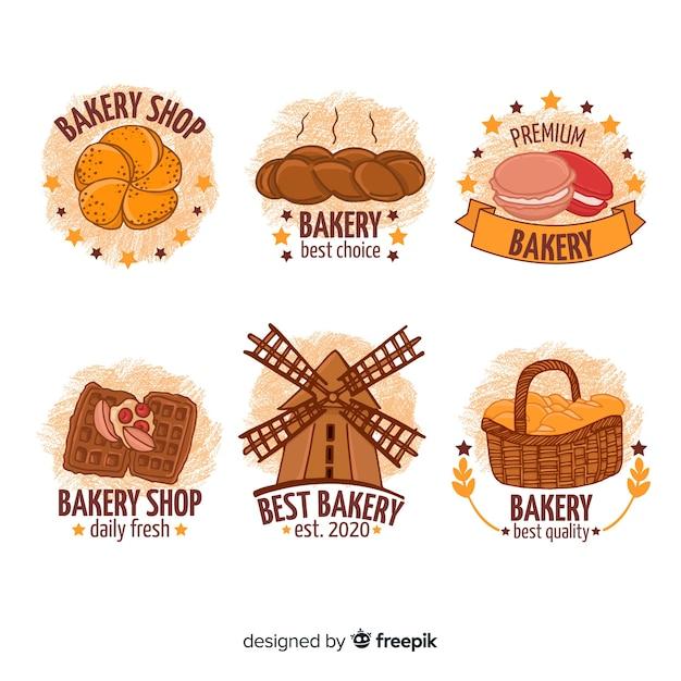 Hand drawn bakery logos Free Vector