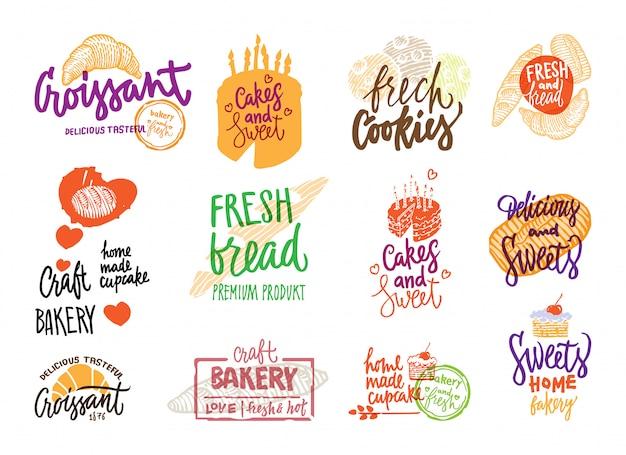 Набор рисованной пекарни логотипы Бесплатные векторы