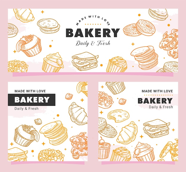 Hand drawn bakery, pastry, breakfast, bread, sweets, dessert, illustration Premium Vector