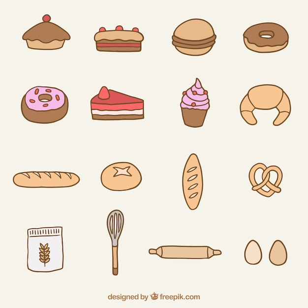 Hand drawn bakery product and dessert\ collection