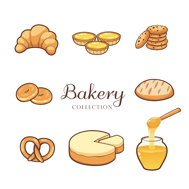 Hand drawn bakery product collection Premium Vector