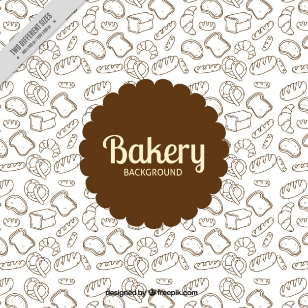 Hand drawn bakery products background Free Vector