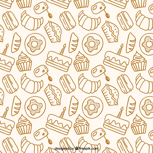 Hand drawn bakery products pattern Free Vector