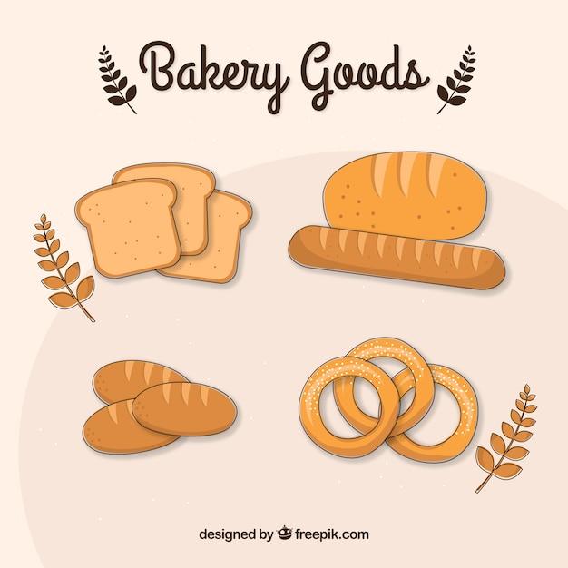 Hand drawn baking goods Free Vector