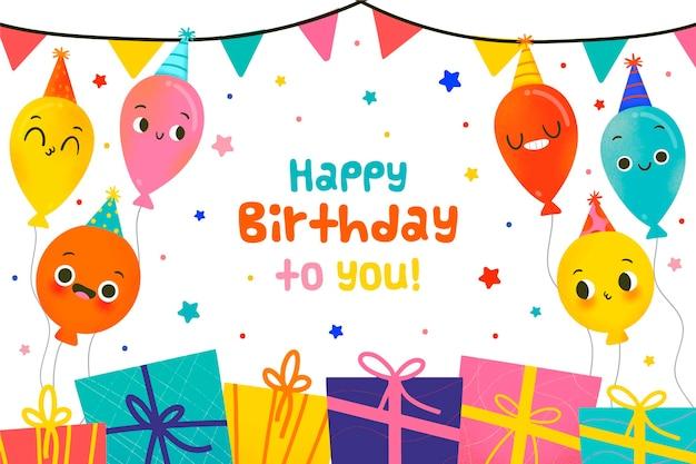 Sfondo di compleanno palloncini disegnati a mano Vettore gratuito