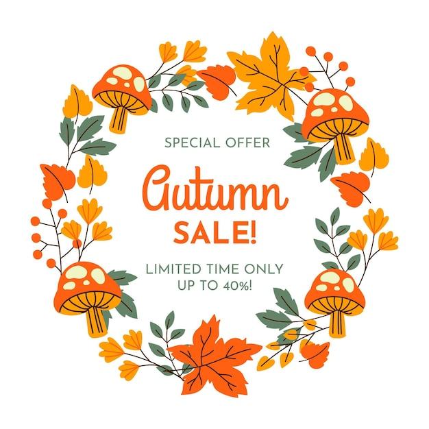 Hand drawn banner autumn sale Premium Vector
