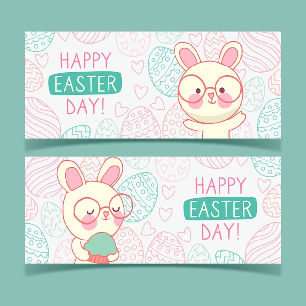 Hand drawn banner for easter with bunnies and glasses Free Vector