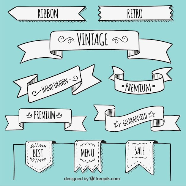 Hand drawn banners in retro style Free Vector