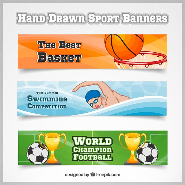 Hand drawn banners of basketball, swimming and\ football