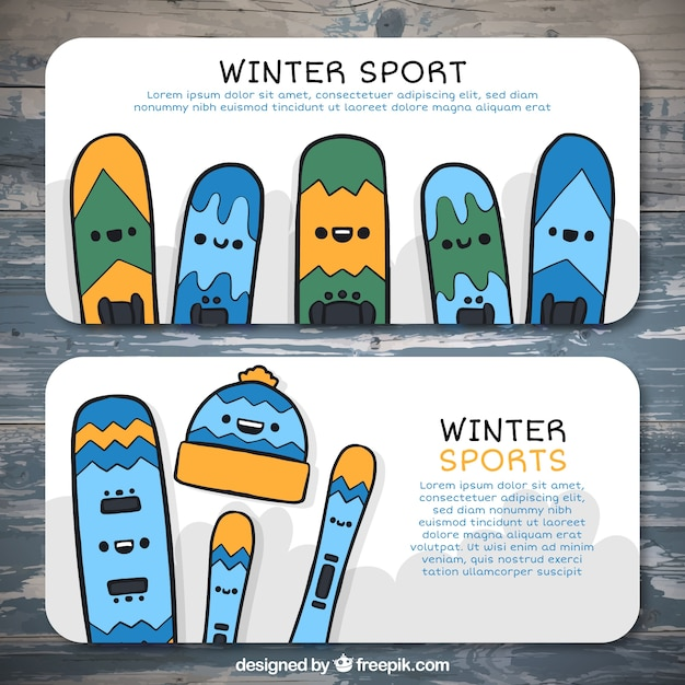 Hand-drawn banners with colorful\ snowboards