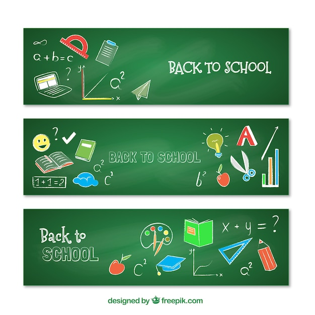 Hand drawn banners with drawings on the blackboard