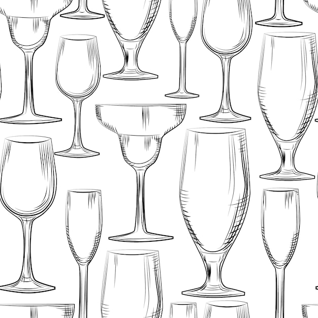 Hand drawn bar glassware seamless pattern. engraving style. Premium Vector