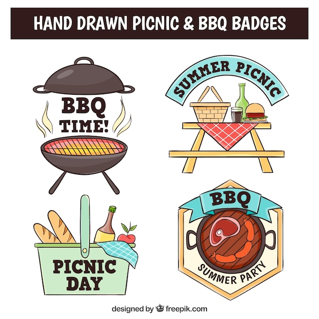 Hand drawn barbecue and picnic badges with\ elements