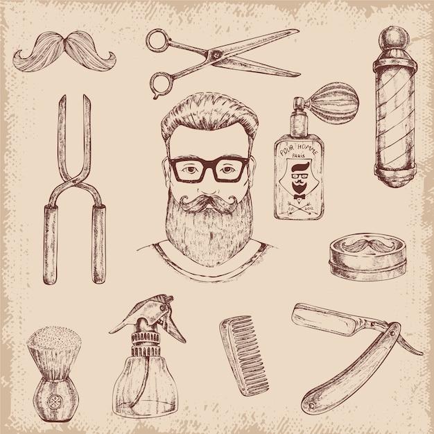 Elementi disegnati a mano del barbiere Vettore gratuito
