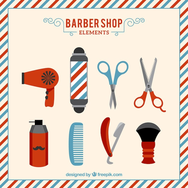 Hand drawn barber shop elements set Free Vector