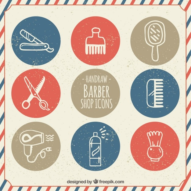 Hand drawn barber shop icons in vintage style