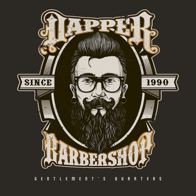 hand drawn barber shop logo in vintage style vector