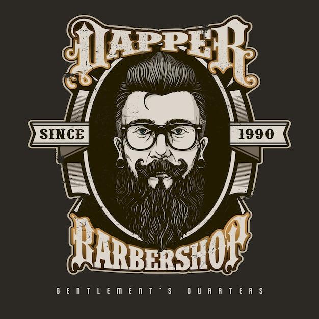 Premium Vector   Hand drawn barber shop logo in vintage style