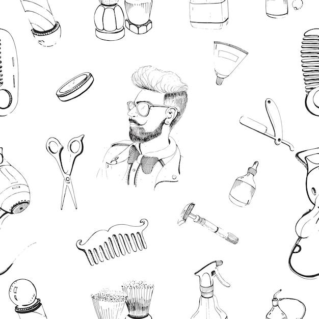 Вручите вычерченную парикмахерскую безшовную картину с гребнем аксессуаров, бритвой, щеткой для бритья, ножницами, феном, полюсом парикмахера и брызгом бутылки. Premium векторы