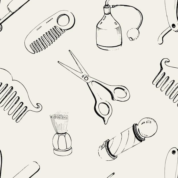 Рисованной парикмахерская бесшовные с аксессуарами расческа, бритва, кисточка для бритья, ножницы, парикмахерская шест и спрей для бутылок. черно-белые иллюстрации шаблон. Premium векторы