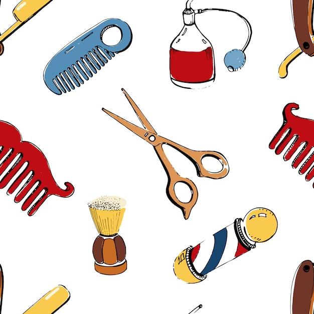 Рисованной парикмахерская бесшовные с аксессуарами расческа, бритва, кисточка для бритья, ножницы, парикмахерская шест и спрей для бутылок. красочная картина иллюстрации на белой предпосылке. Premium векторы
