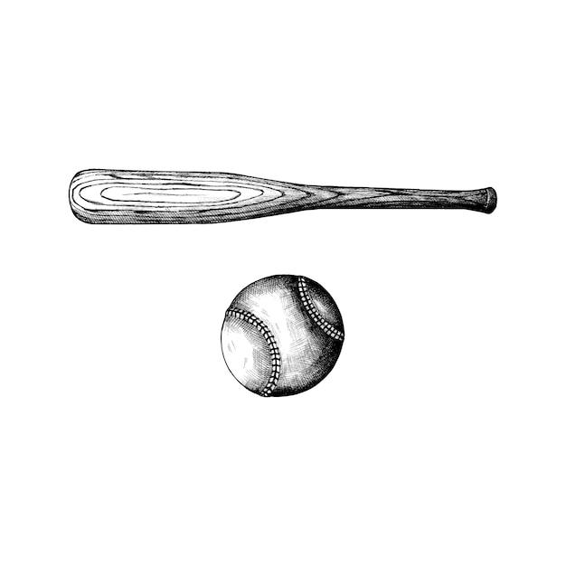 Hand drawn baseball bat and ball Free Vector