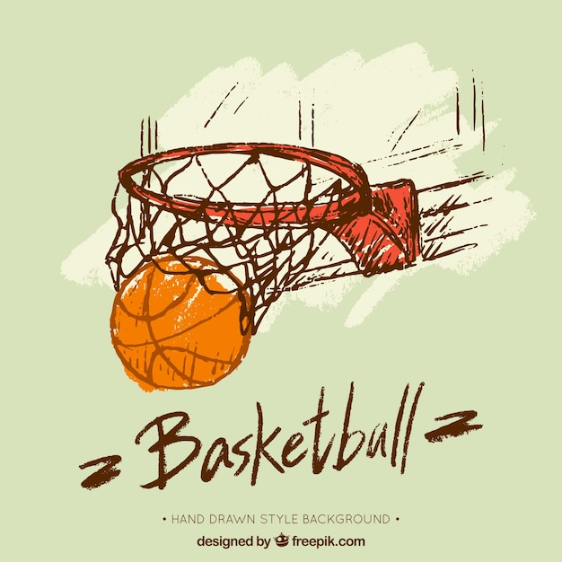 Hand drawn basketball basket background Free Vector