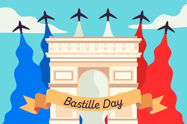 手描きのフランス革命記念日のコンセプト 無料ベクター