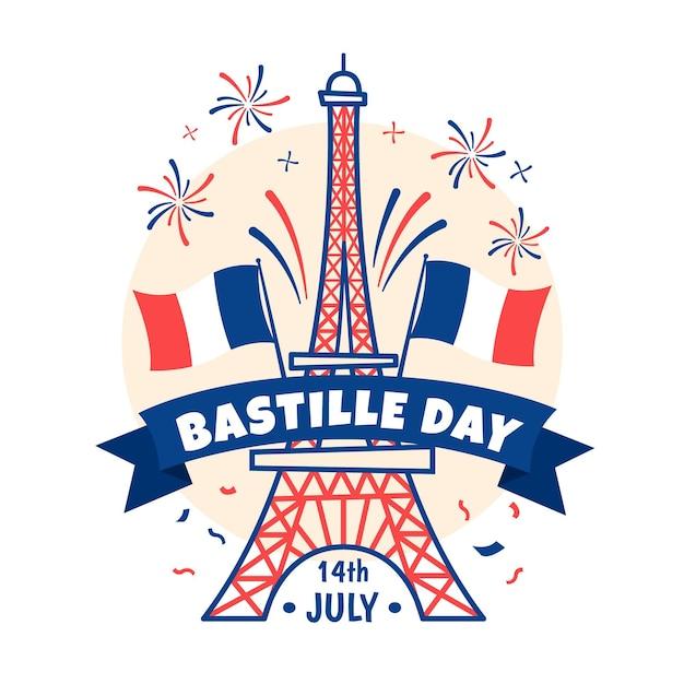 Hand drawn bastille day concept Free Vector