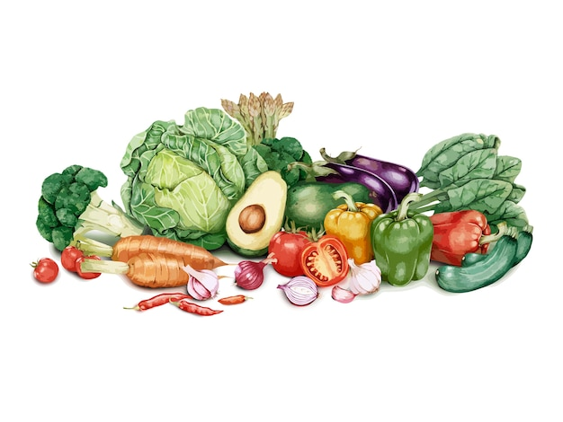 Hand drawn batch of vegetables Free Vector