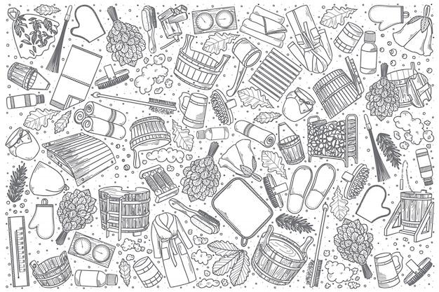 Hand drawn bathhouse doodle set Premium Vector