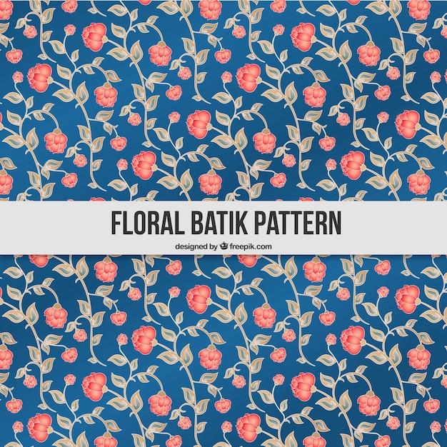 Hand Drawn Batik Floral Pattern Vector